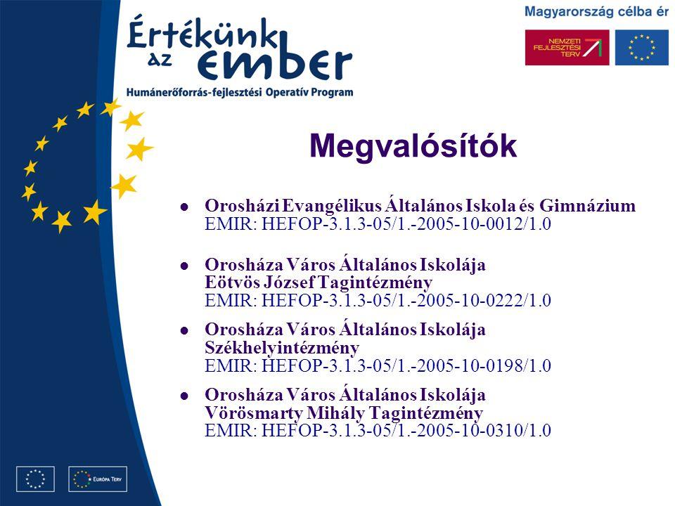 Megvalósítók Orosházi Evangélikus Általános Iskola és Gimnázium EMIR: HEFOP-3.1.3-05/1.-2005-10-0012/1.0 Orosháza Város Általános Iskolája Eötvös József Tagintézmény EMIR: HEFOP-3.1.3-05/1.-2005-10-0222/1.0 Orosháza Város Általános Iskolája Székhelyintézmény EMIR: HEFOP-3.1.3-05/1.-2005-10-0198/1.0 Orosháza Város Általános Iskolája Vörösmarty Mihály Tagintézmény EMIR: HEFOP-3.1.3-05/1.-2005-10-0310/1.0