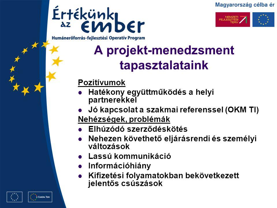 A projekt-menedzsment tapasztalataink Pozitívumok Hatékony együttműködés a helyi partnerekkel Jó kapcsolat a szakmai referenssel (OKM TI) Nehézségek,