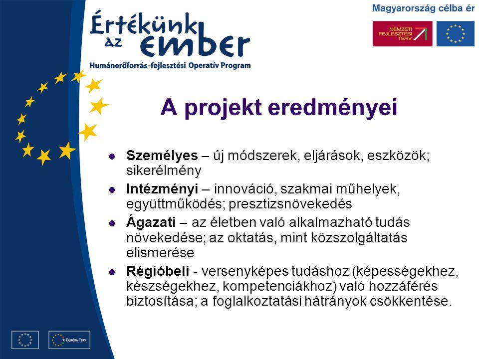 A projekt eredményei Személyes – új módszerek, eljárások, eszközök; sikerélmény Intézményi – innováció, szakmai műhelyek, együttműködés; presztizsnövekedés Ágazati – az életben való alkalmazható tudás növekedése; az oktatás, mint közszolgáltatás elismerése Régióbeli - versenyképes tudáshoz (képességekhez, készségekhez, kompetenciákhoz) való hozzáférés biztosítása; a foglalkoztatási hátrányok csökkentése.