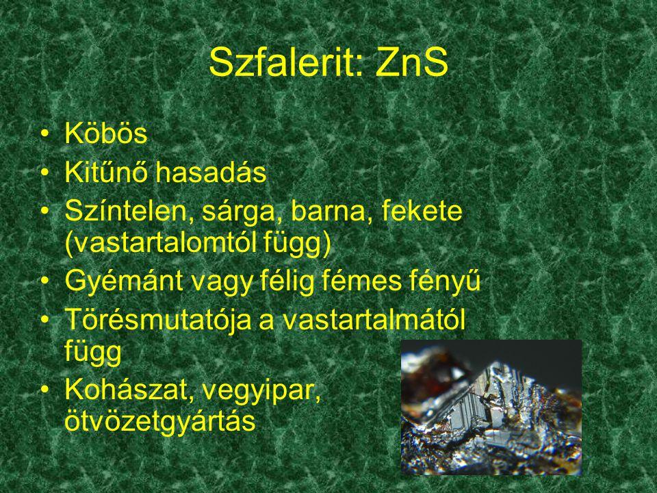 Szfalerit: ZnS Köbös Kitűnő hasadás Színtelen, sárga, barna, fekete (vastartalomtól függ) Gyémánt vagy félig fémes fényű Törésmutatója a vastartalmátó