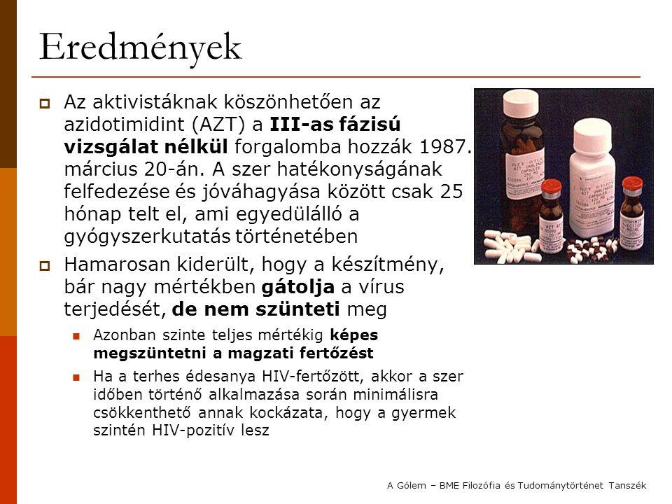 Eredmények  Az aktivistáknak köszönhetően az azidotimidint (AZT) a III-as fázisú vizsgálat nélkül forgalomba hozzák 1987. március 20-án. A szer haték