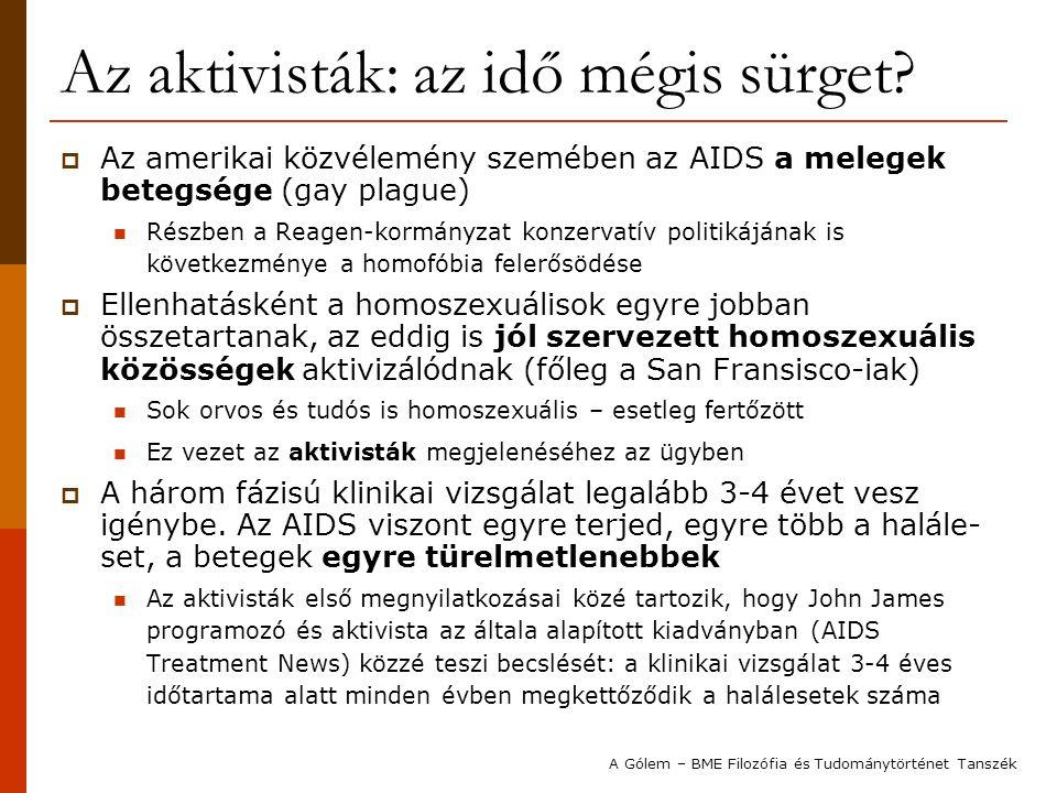 Az aktivisták: az idő mégis sürget?  Az amerikai közvélemény szemében az AIDS a melegek betegsége (gay plague) Részben a Reagen-kormányzat konzervatí