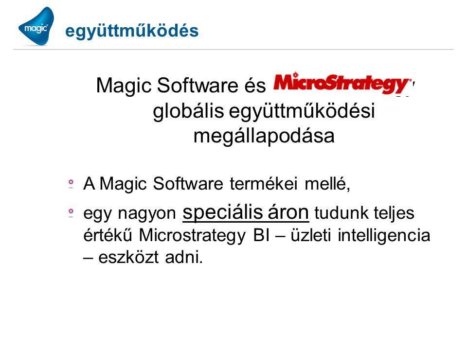 együttműködés Magic Software és a Microstrategy globális együttműködési megállapodása A Magic Software termékei mellé, egy nagyon speciális áron tudun