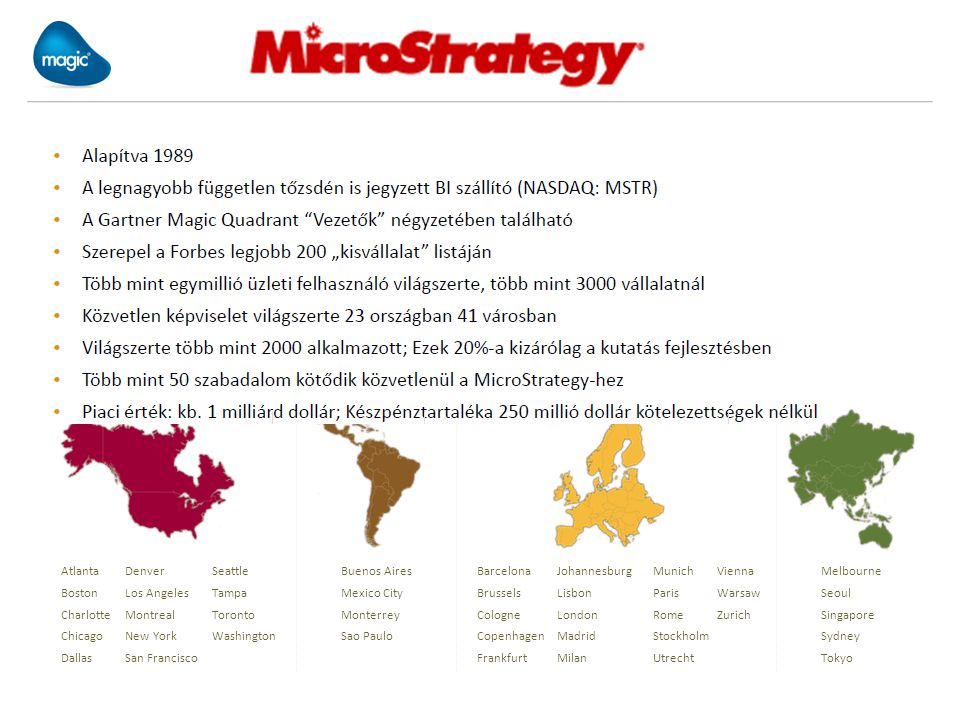 Founded in 1989 Largest independent public BI vendor (NASDAQ: MSTR) In the Gartner Leader Quadrant for BI Platforms Selected by Forbes as one of the 200 Best Small Companies Over 1 million business users at over 3,000 organizations Direct operations in 41 cities in 23 countries across the world Over 2,000 employees worldwide; 20% are dedicated to R&D Over 50 patents pending or issued for MicroStrategy software Market Capitalization: Approx.