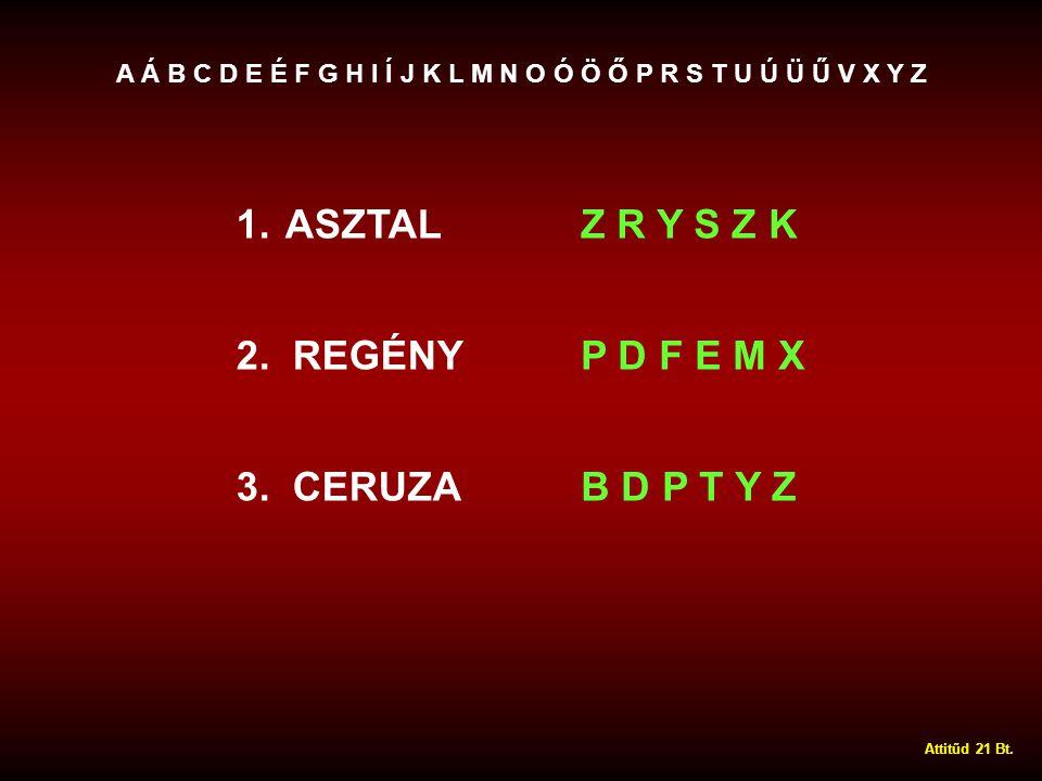 1.ASZTALZ R Y S Z K 2. REGÉNYP D F E M X 3.
