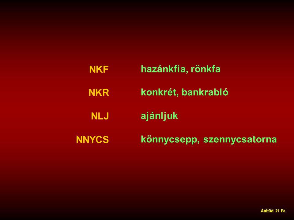 NKF NKR NLJ NNYCS hazánkfia, rönkfa konkrét, bankrabló ajánljuk könnycsepp, szennycsatorna Attitűd 21 Bt.