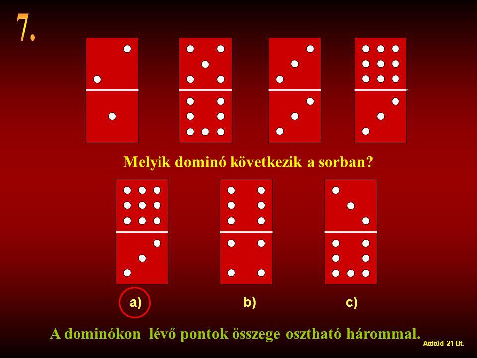 a) b) c) Melyik dominó következik a sorban.A dominókon lévő pontok összege osztható hárommal.