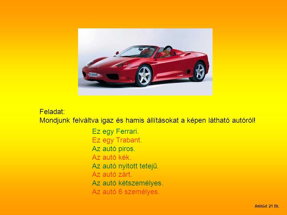 Feladat: Mondjunk felváltva igaz és hamis állításokat a képen látható autóról.