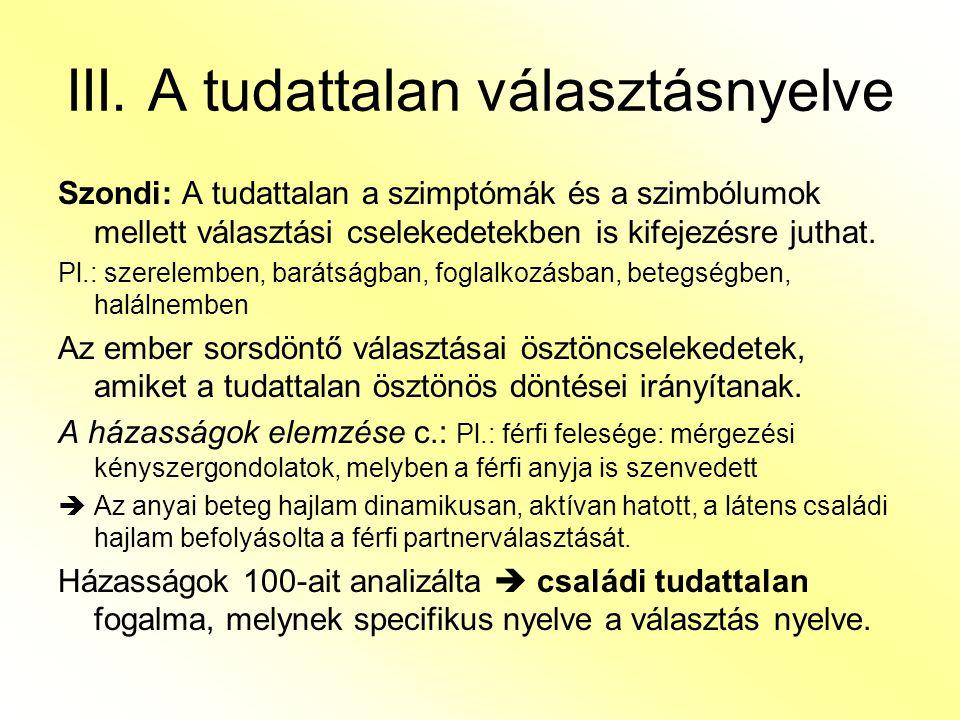 III. A tudattalan választásnyelve Szondi: A tudattalan a szimptómák és a szimbólumok mellett választási cselekedetekben is kifejezésre juthat. Pl.: sz