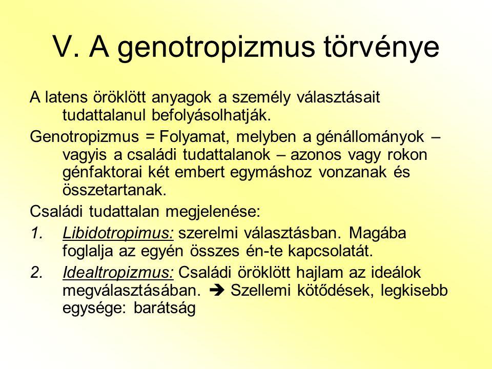 V. A genotropizmus törvénye A latens öröklött anyagok a személy választásait tudattalanul befolyásolhatják. Genotropizmus = Folyamat, melyben a génáll