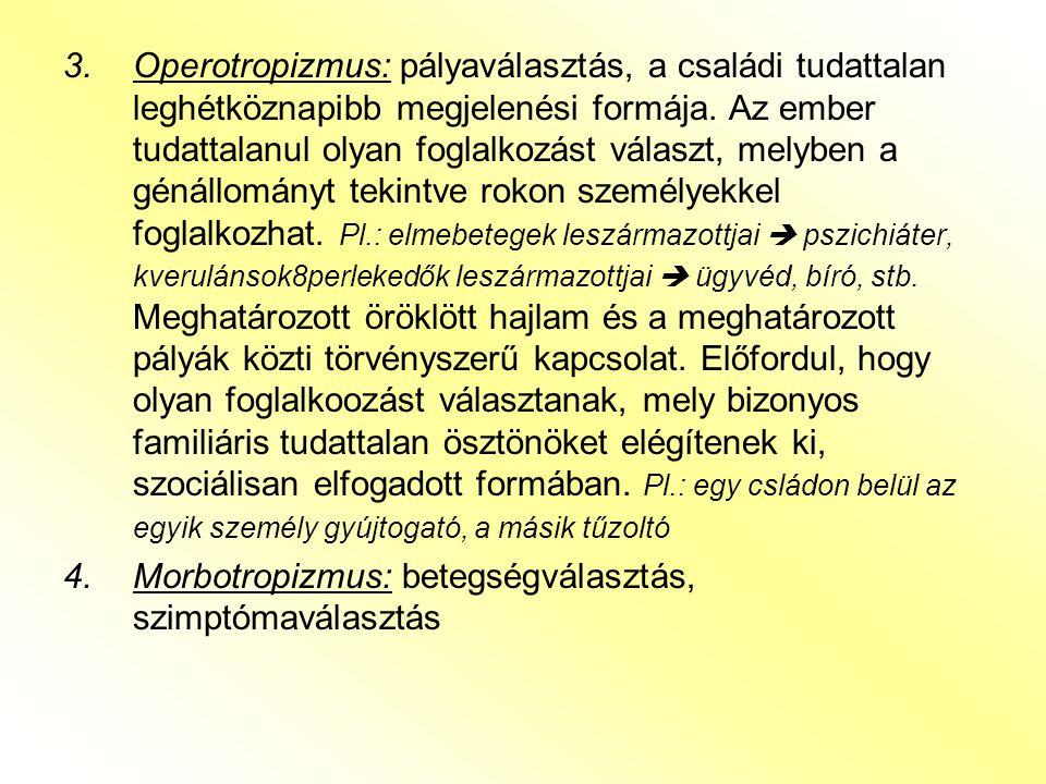 3.Operotropizmus: pályaválasztás, a családi tudattalan leghétköznapibb megjelenési formája. Az ember tudattalanul olyan foglalkozást választ, melyben