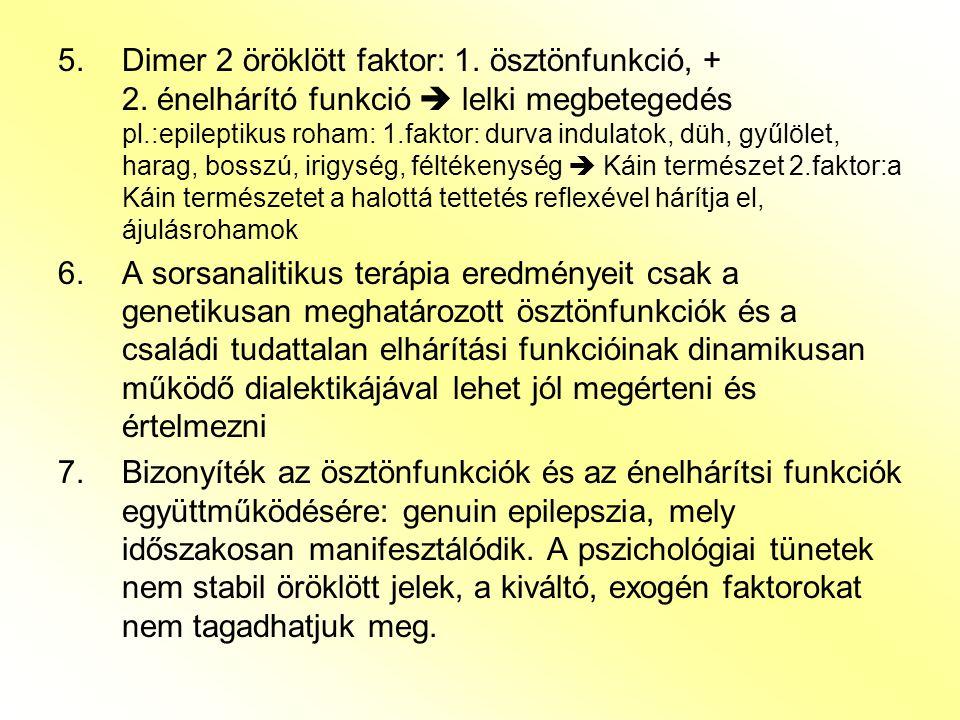 5.Dimer 2 öröklött faktor: 1. ösztönfunkció, + 2. énelhárító funkció  lelki megbetegedés pl.:epileptikus roham: 1.faktor: durva indulatok, düh, gyűlö