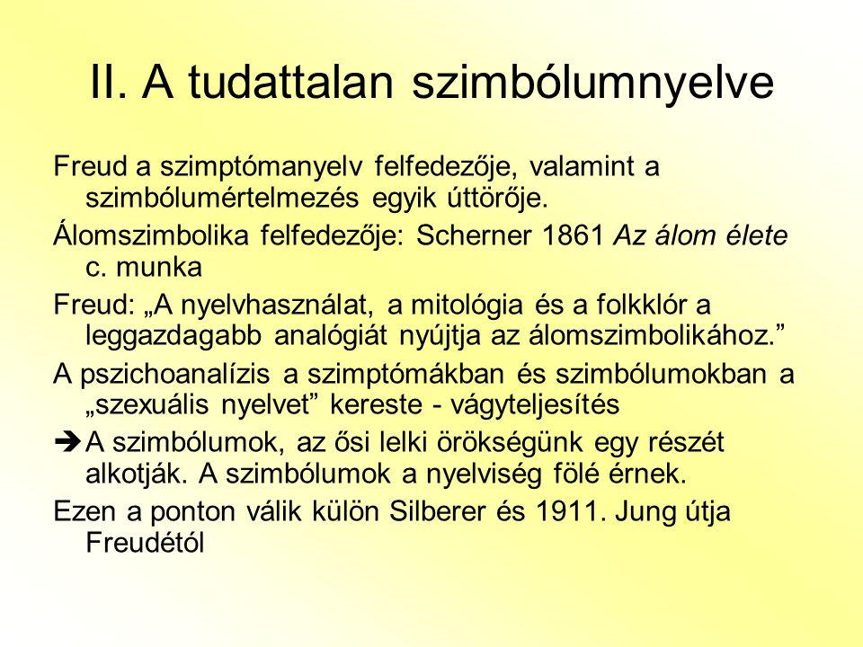 II. A tudattalan szimbólumnyelve Freud a szimptómanyelv felfedezője, valamint a szimbólumértelmezés egyik úttörője. Álomszimbolika felfedezője: Schern