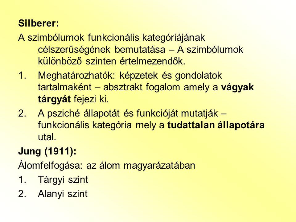 Silberer: A szimbólumok funkcionális kategóriájának célszerűségének bemutatása – A szimbólumok különböző szinten értelmezendők. 1.Meghatározhatók: kép