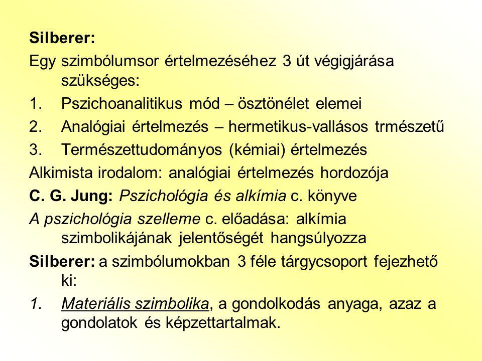 Silberer: Egy szimbólumsor értelmezéséhez 3 út végigjárása szükséges: 1.Pszichoanalitikus mód – ösztönélet elemei 2.Analógiai értelmezés – hermetikus-