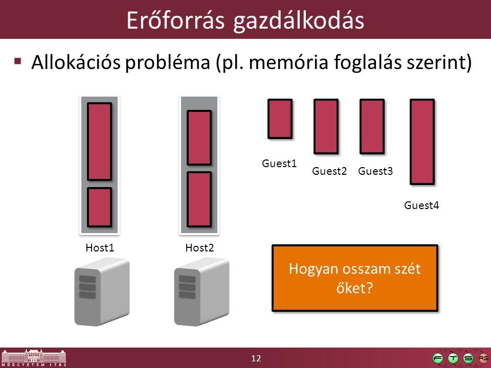12 Erőforrás gazdálkodás  Allokációs probléma (pl. memória foglalás szerint) Host1Host2 Guest1 Guest2Guest3 Guest4 Hogyan osszam szét őket?