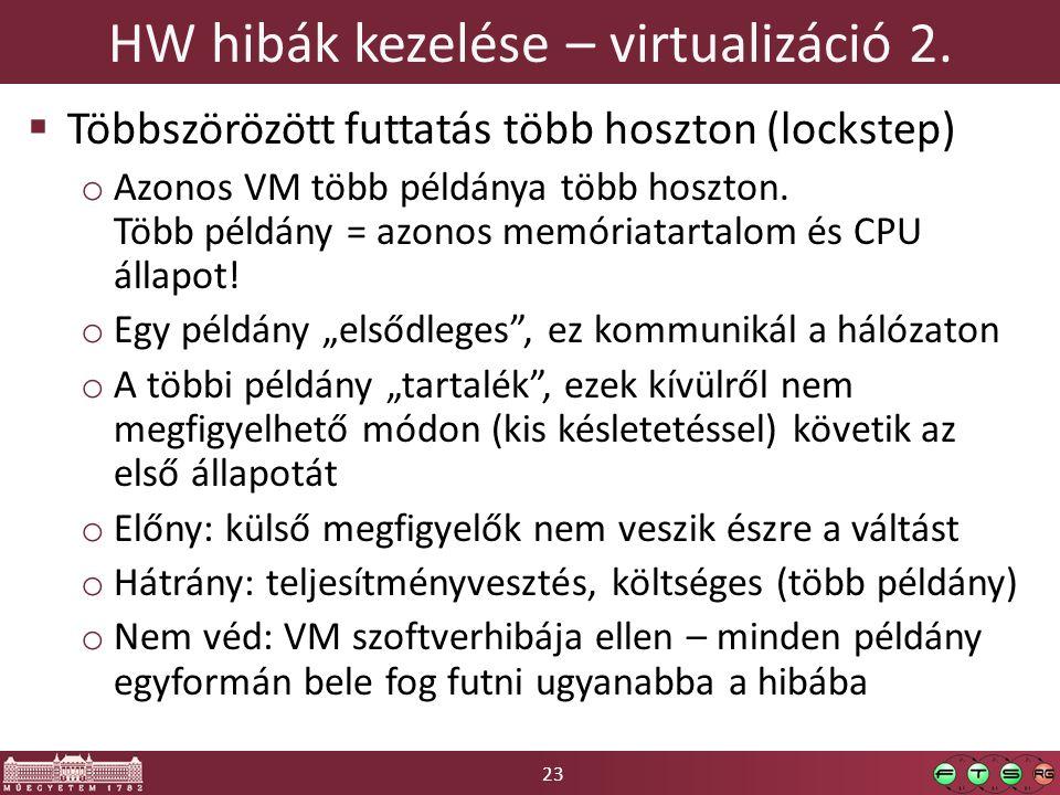 23 HW hibák kezelése – virtualizáció 2.  Többszörözött futtatás több hoszton (lockstep) o Azonos VM több példánya több hoszton. Több példány = azonos