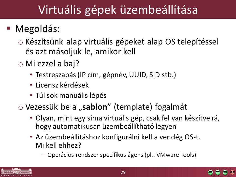 29 Virtuális gépek üzembeállítása  Megoldás: o Készítsünk alap virtuális gépeket alap OS telepítéssel és azt másoljuk le, amikor kell o Mi ezzel a ba