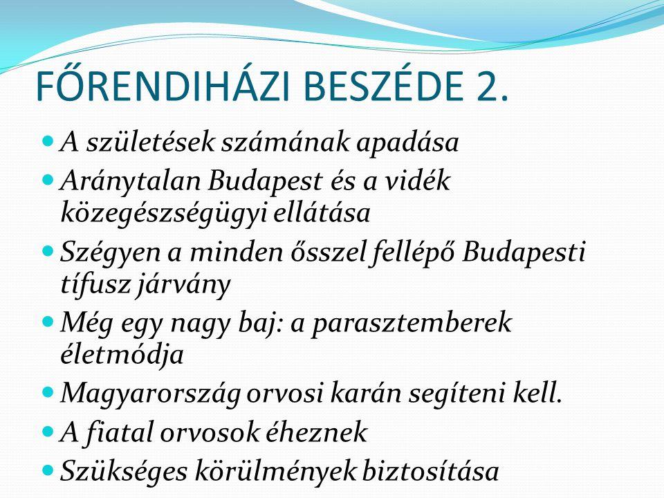 FŐRENDIHÁZI BESZÉDE 2. A születések számának apadása Aránytalan Budapest és a vidék közegészségügyi ellátása Szégyen a minden ősszel fellépő Budapesti