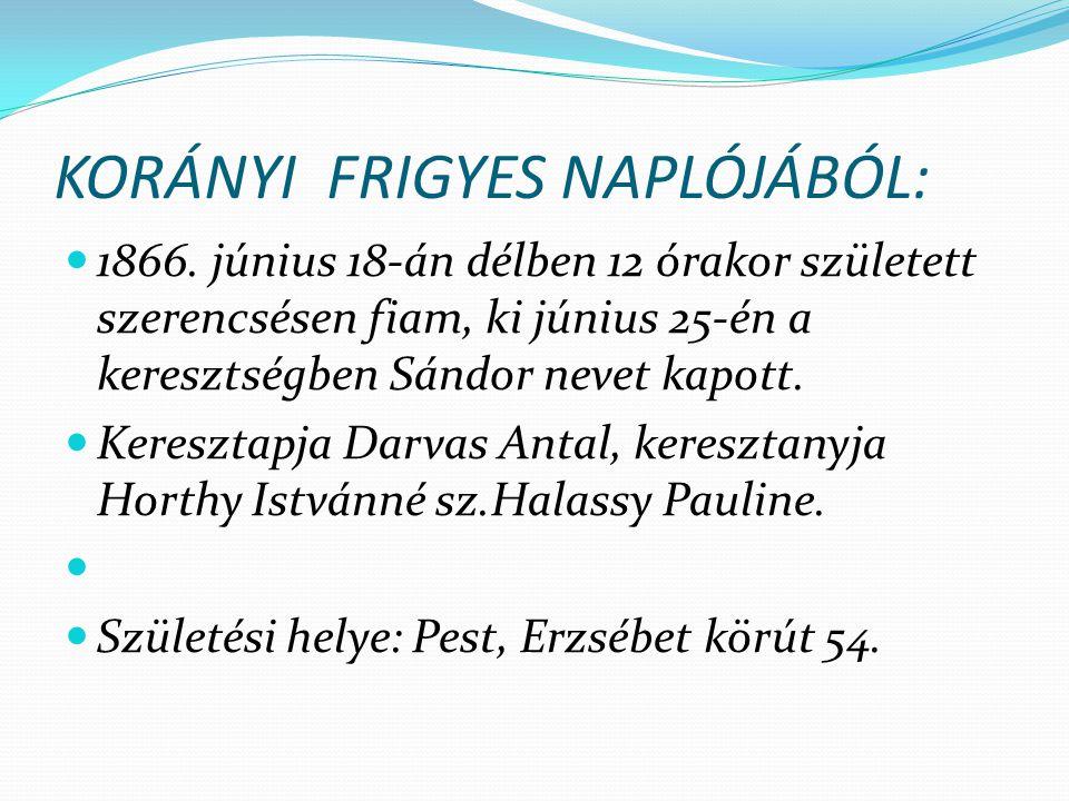 KORÁNYI FRIGYES NAPLÓJÁBÓL: 1866. június 18-án délben 12 órakor született szerencsésen fiam, ki június 25-én a keresztségben Sándor nevet kapott. Kere