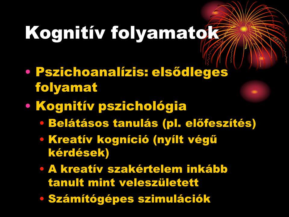 Kognitív folyamatok Pszichoanalízis: elsődleges folyamat Kognitív pszichológia Belátásos tanulás (pl. előfeszítés) Kreatív kogníció (nyílt végű kérdés