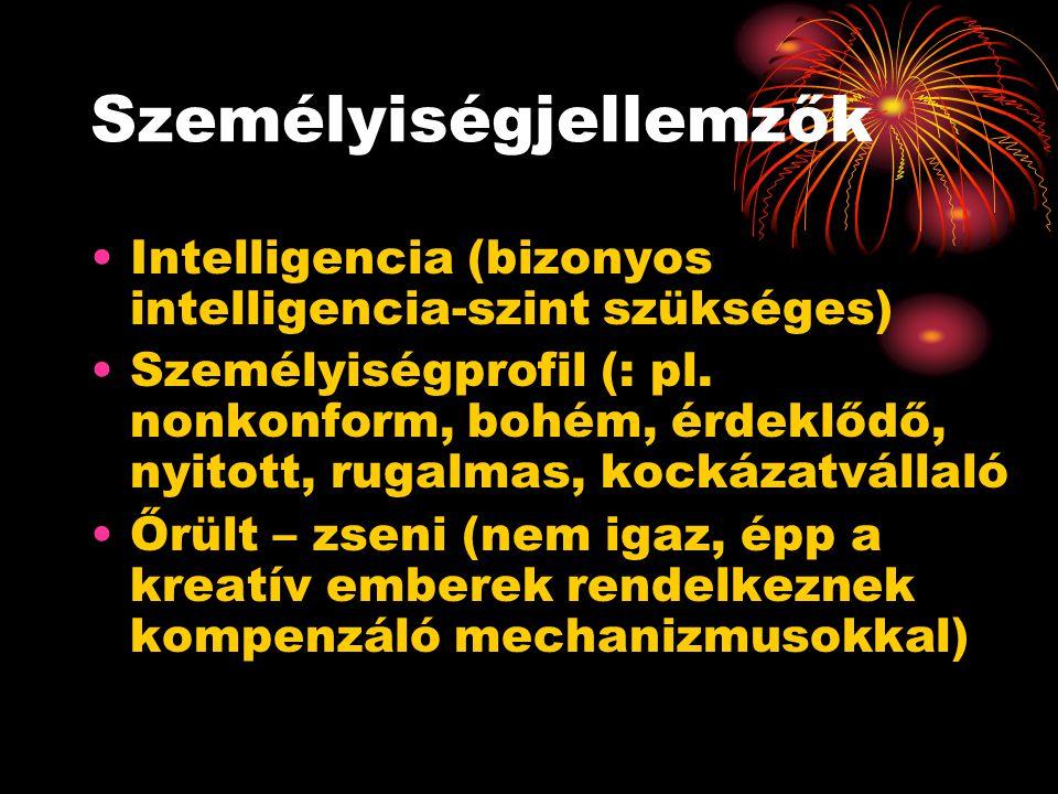 Személyiségjellemzők Intelligencia (bizonyos intelligencia-szint szükséges) Személyiségprofil (: pl. nonkonform, bohém, érdeklődő, nyitott, rugalmas,