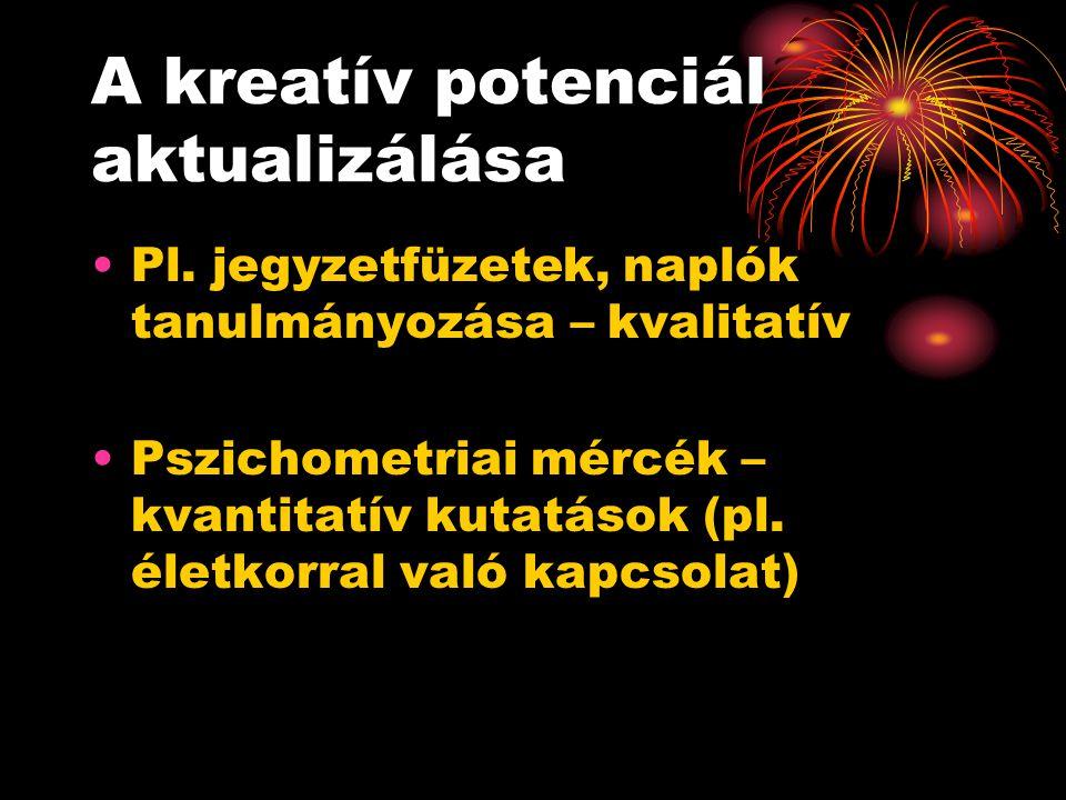 A kreatív potenciál aktualizálása Pl. jegyzetfüzetek, naplók tanulmányozása – kvalitatív Pszichometriai mércék – kvantitatív kutatások (pl. életkorral