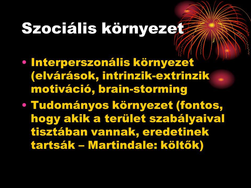 Szociális környezet Interperszonális környezet (elvárások, intrinzik-extrinzik motiváció, brain-storming Tudományos környezet (fontos, hogy akik a ter