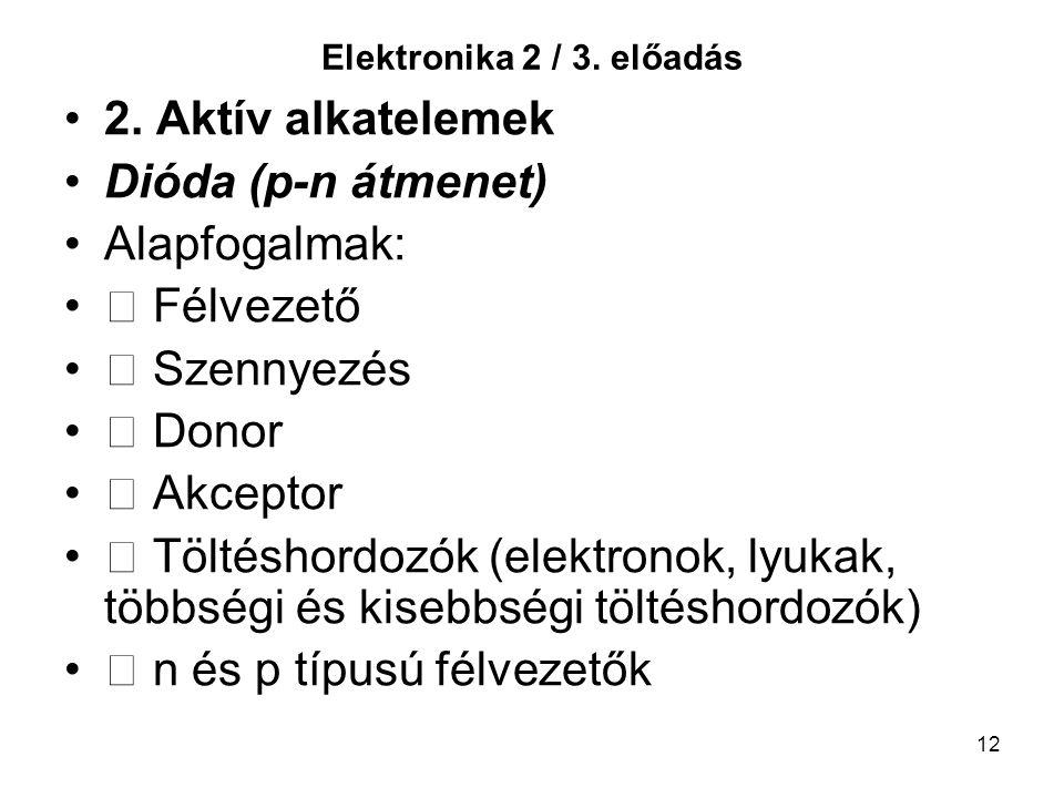 12 Elektronika 2 / 3. előadás 2. Aktív alkatelemek Dióda (p-n átmenet) Alapfogalmak: Félvezető Szennyezés Donor Akceptor Töltéshordozók (elektronok, l