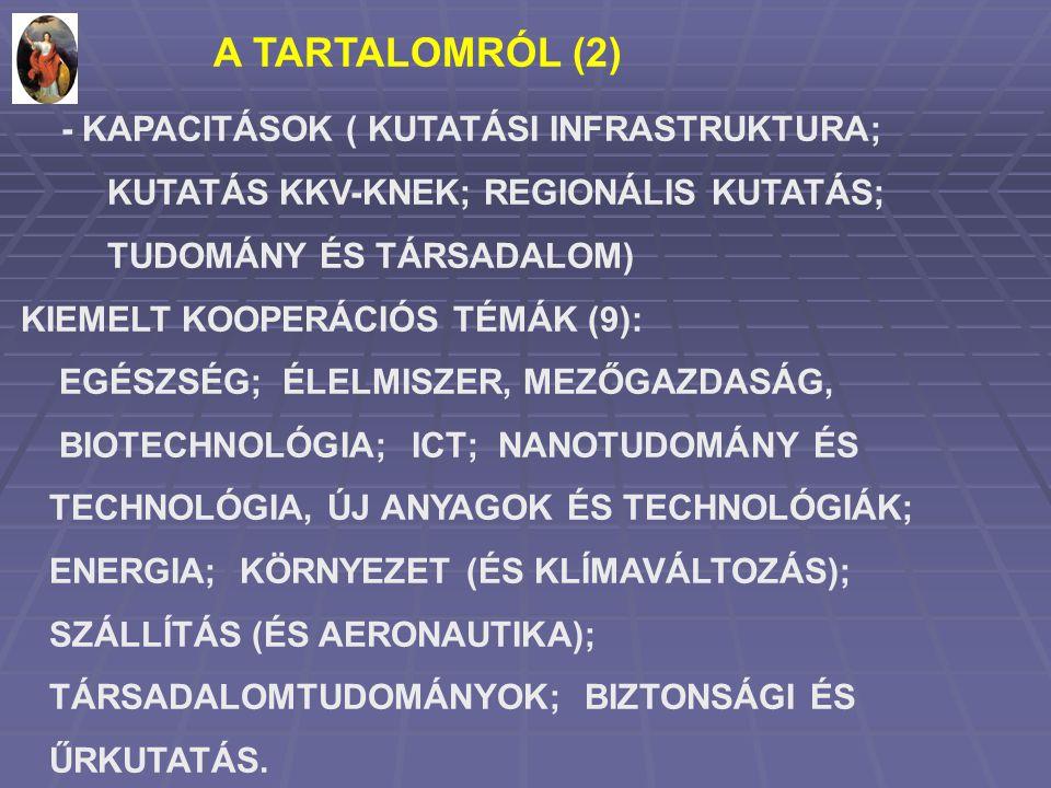 A TARTALOMRÓL (2) - KAPACITÁSOK ( KUTATÁSI INFRASTRUKTURA; KUTATÁS KKV-KNEK; REGIONÁLIS KUTATÁS; TUDOMÁNY ÉS TÁRSADALOM) KIEMELT KOOPERÁCIÓS TÉMÁK (9): EGÉSZSÉG; ÉLELMISZER, MEZŐGAZDASÁG, BIOTECHNOLÓGIA; ICT; NANOTUDOMÁNY ÉS TECHNOLÓGIA, ÚJ ANYAGOK ÉS TECHNOLÓGIÁK; ENERGIA; KÖRNYEZET (ÉS KLÍMAVÁLTOZÁS); SZÁLLÍTÁS (ÉS AERONAUTIKA); TÁRSADALOMTUDOMÁNYOK; BIZTONSÁGI ÉS ŰRKUTATÁS.