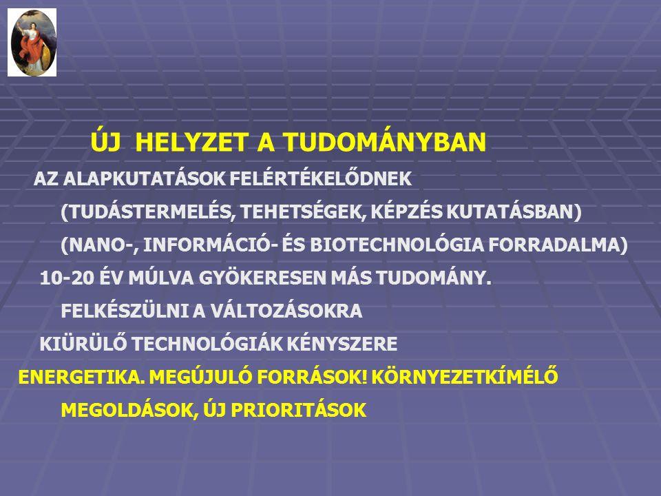 ÚJ HELYZET A TUDOMÁNYBAN AZ ALAPKUTATÁSOK FELÉRTÉKELŐDNEK (TUDÁSTERMELÉS, TEHETSÉGEK, KÉPZÉS KUTATÁSBAN) (NANO-, INFORMÁCIÓ- ÉS BIOTECHNOLÓGIA FORRADALMA) 10-20 ÉV MÚLVA GYÖKERESEN MÁS TUDOMÁNY.