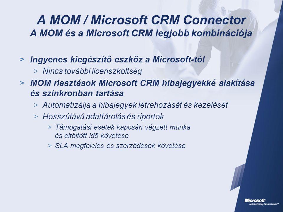 A MOM / Microsoft CRM Connector A MOM és a Microsoft CRM legjobb kombinációja  Ingyenes kiegészítő eszköz a Microsoft-tól  Nincs további licenszköltség  MOM riasztások Microsoft CRM hibajegyekké alakítása és szinkronban tartása  Automatizálja a hibajegyek létrehozását és kezelését  Hosszútávú adattárolás és riportok  Támogatási esetek kapcsán végzett munka és eltöltött idő követése  SLA megfelelés és szerződések követése