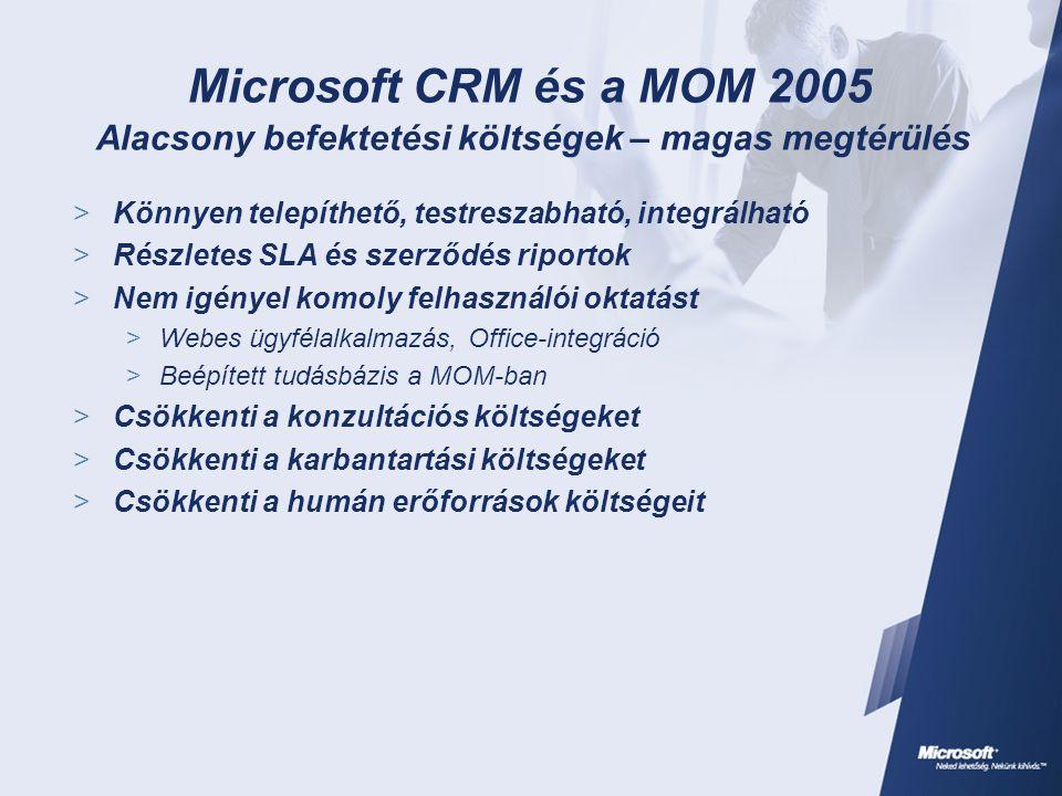 Microsoft CRM és a MOM 2005 Alacsony befektetési költségek – magas megtérülés  Könnyen telepíthető, testreszabható, integrálható  Részletes SLA és szerződés riportok  Nem igényel komoly felhasználói oktatást  Webes ügyfélalkalmazás, Office-integráció  Beépített tudásbázis a MOM-ban  Csökkenti a konzultációs költségeket  Csökkenti a karbantartási költségeket  Csökkenti a humán erőforrások költségeit