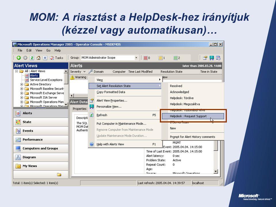MOM: A riasztást a HelpDesk-hez irányítjuk (kézzel vagy automatikusan)…