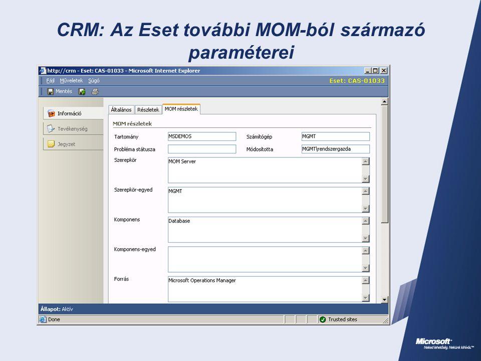 CRM: Az Eset további MOM-ból származó paraméterei