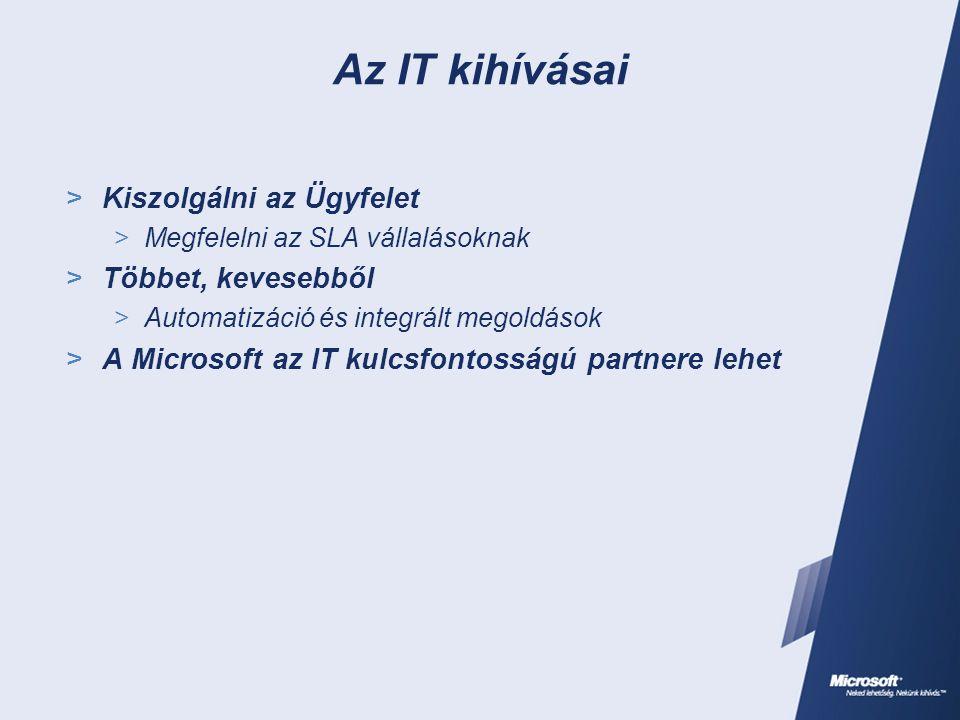 Az IT kihívásai  Kiszolgálni az Ügyfelet  Megfelelni az SLA vállalásoknak  Többet, kevesebből  Automatizáció és integrált megoldások  A Microsoft az IT kulcsfontosságú partnere lehet