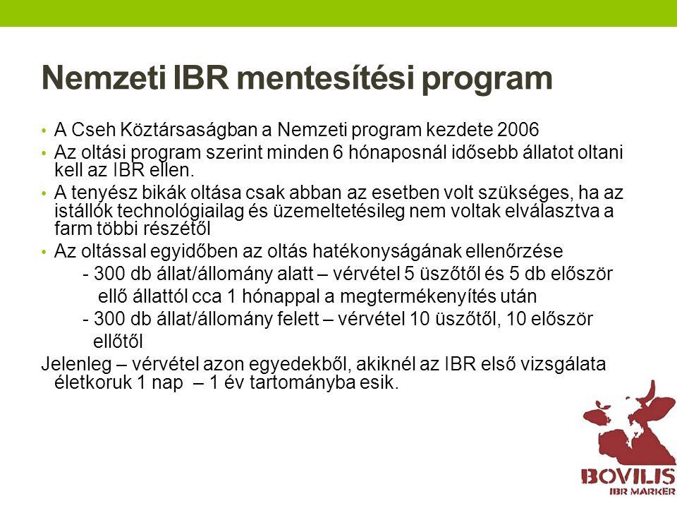 Nemzeti IBR mentesítési program A Cseh Köztársaságban a Nemzeti program kezdete 2006 Az oltási program szerint minden 6 hónaposnál idősebb állatot olt
