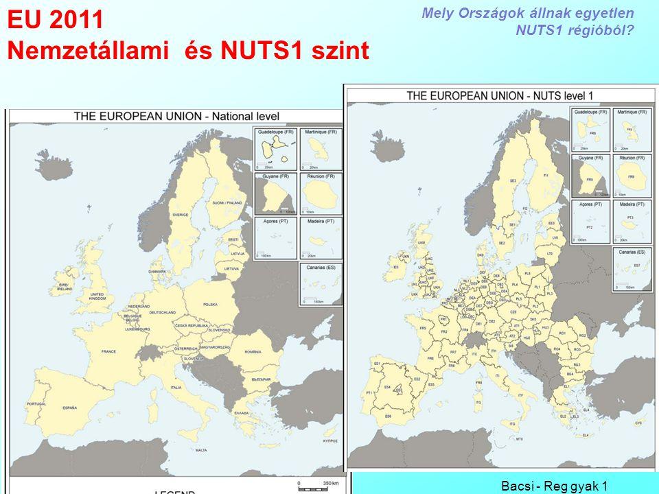 Bacsi - Reg gyak 1 1 EU 2011 Nemzetállami és NUTS1 szint Mely Országok állnak egyetlen NUTS1 régióból?