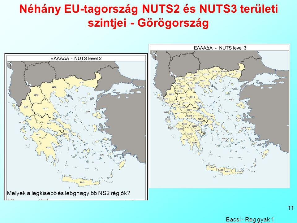 Bacsi - Reg gyak 1 11 Néhány EU-tagország NUTS2 és NUTS3 területi szintjei - Görögország Melyek a legkisebb és lebgnagyibb NS2 régiók
