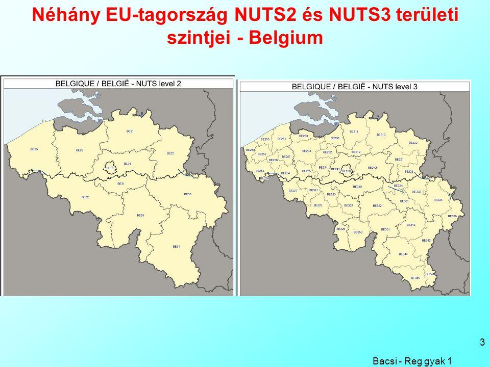 3 Néhány EU-tagország NUTS2 és NUTS3 területi szintjei - Belgium