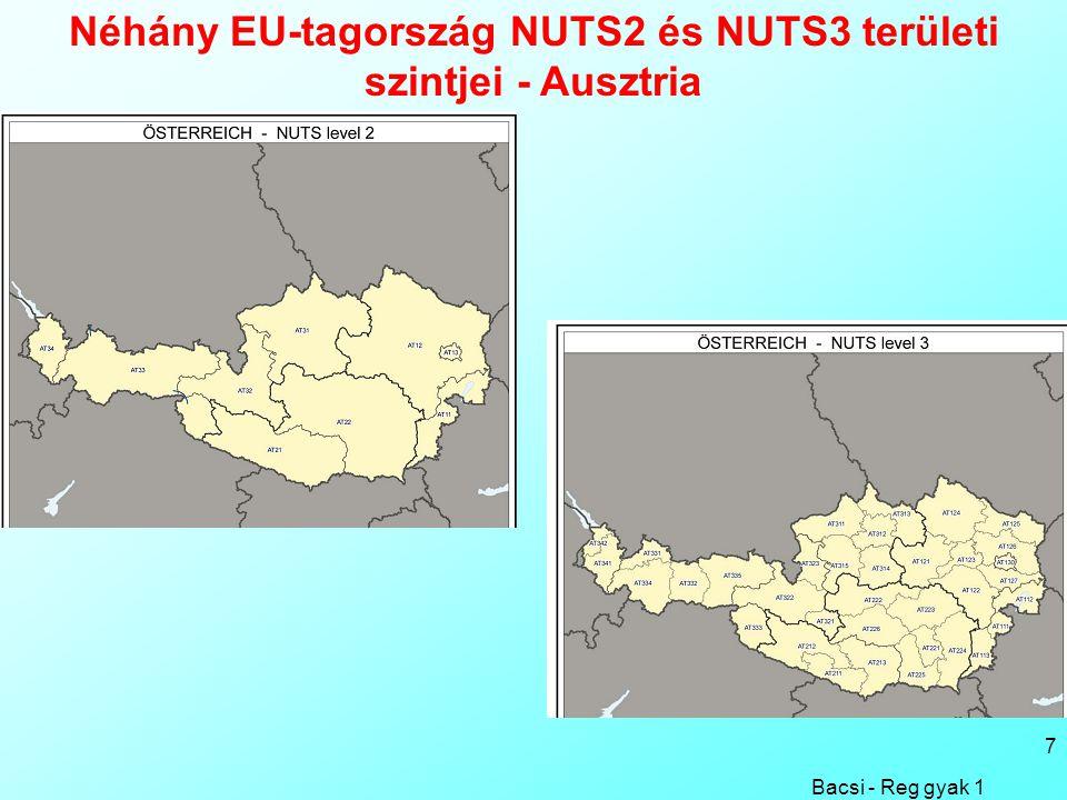 Bacsi - Reg gyak 1 7 Néhány EU-tagország NUTS2 és NUTS3 területi szintjei - Ausztria