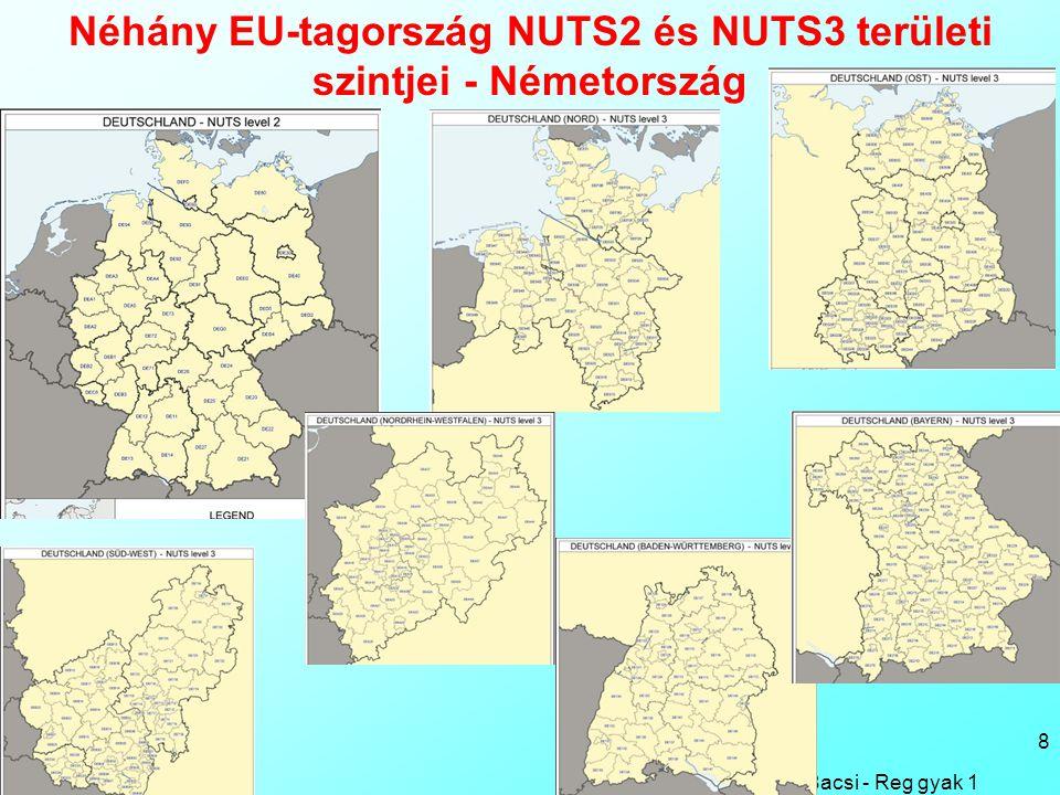 Bacsi - Reg gyak 1 8 Néhány EU-tagország NUTS2 és NUTS3 területi szintjei - Németország