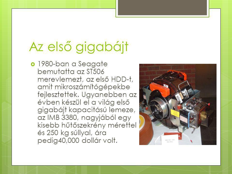 Az első gigabájt  1980-ban a Seagate bemutatta az ST506 merevlemezt, az első HDD-t, amit mikroszámítógépekbe fejlesztettek.