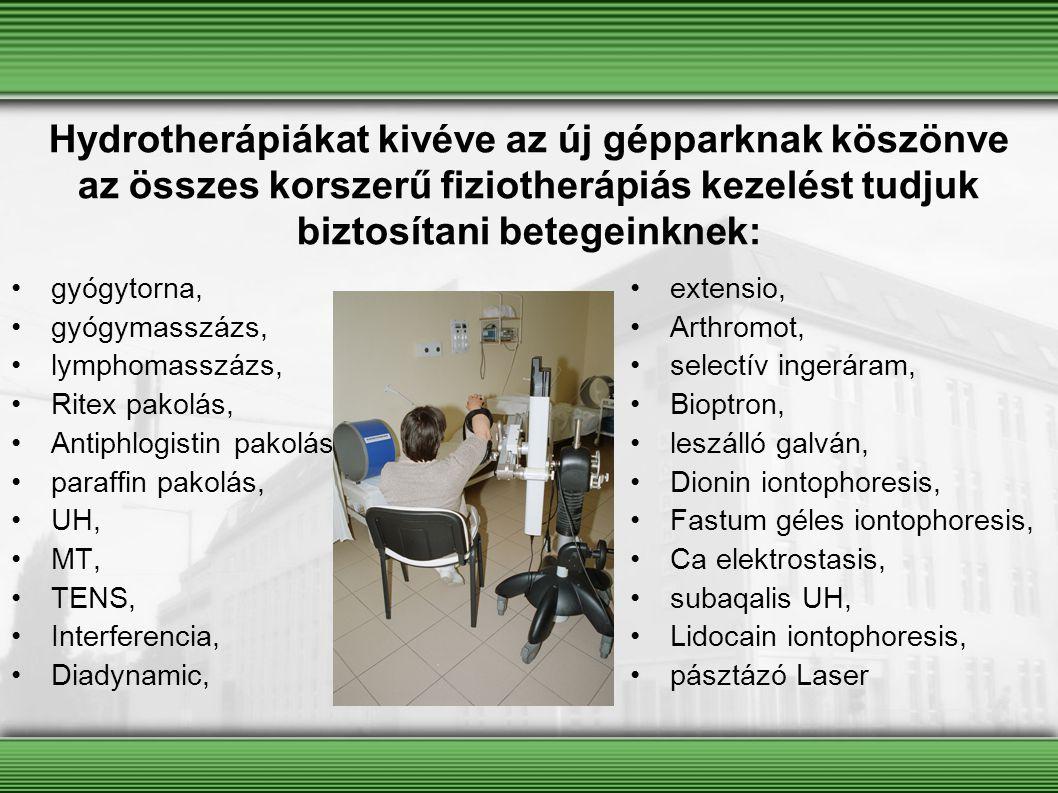gyógytorna, gyógymasszázs, lymphomasszázs, Ritex pakolás, Antiphlogistin pakolás, paraffin pakolás, UH, MT, TENS, Interferencia, Diadynamic, extensio,