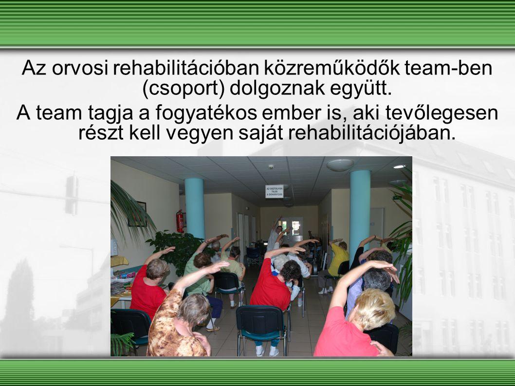 Az orvosi rehabilitációban közreműködők team-ben (csoport) dolgoznak együtt. A team tagja a fogyatékos ember is, aki tevőlegesen részt kell vegyen saj