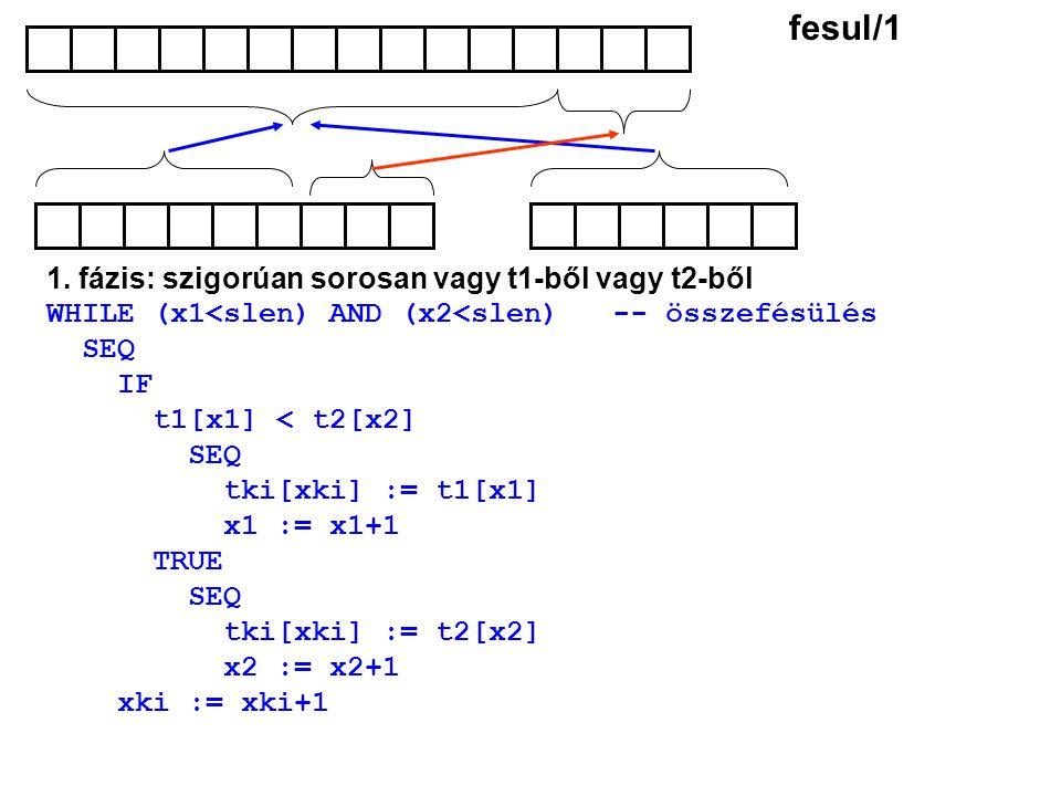 1. fázis: szigorúan sorosan vagy t1-ből vagy t2-ből WHILE (x1<slen) AND (x2<slen) -- összefésülés SEQ IF t1[x1] < t2[x2] SEQ tki[xki] := t1[x1] x1 :=