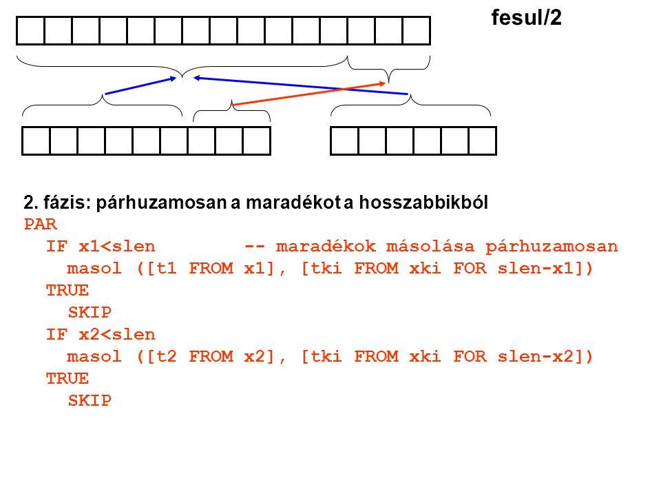 2. fázis: párhuzamosan a maradékot a hosszabbikból PAR IF x1<slen -- maradékok másolása párhuzamosan masol ([t1 FROM x1], [tki FROM xki FOR slen-x1])