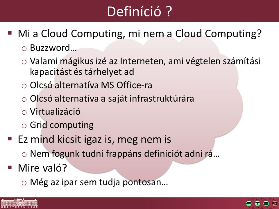 Definíció .  Mi a Cloud Computing, mi nem a Cloud Computing.