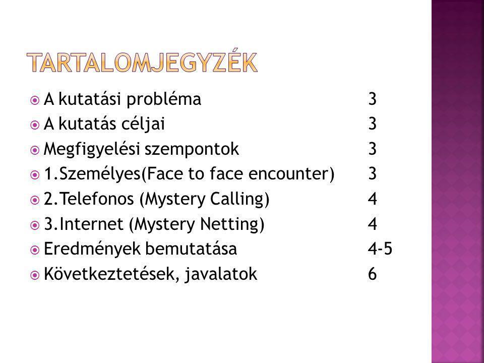  A kutatási probléma 3  A kutatás céljai3  Megfigyelési szempontok3  1.Személyes(Face to face encounter)3  2.Telefonos (Mystery Calling)4  3.Int