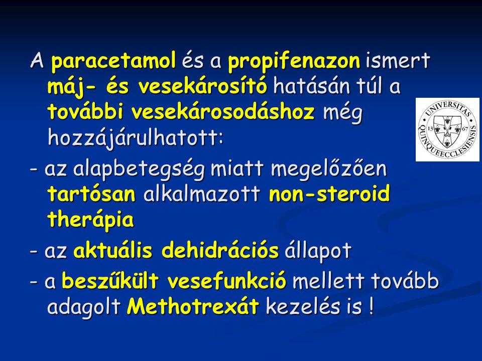 A paracetamol és a propifenazon ismert máj- és vesekárosító hatásán túl a további vesekárosodáshoz még hozzájárulhatott: - az alapbetegség miatt megel